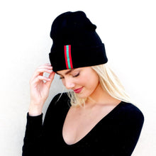 Load image into Gallery viewer, Pretty Simple Black Beanie W/ Stripe