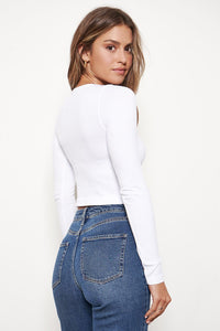 Sugarlips Cropped Button Longsleeve White