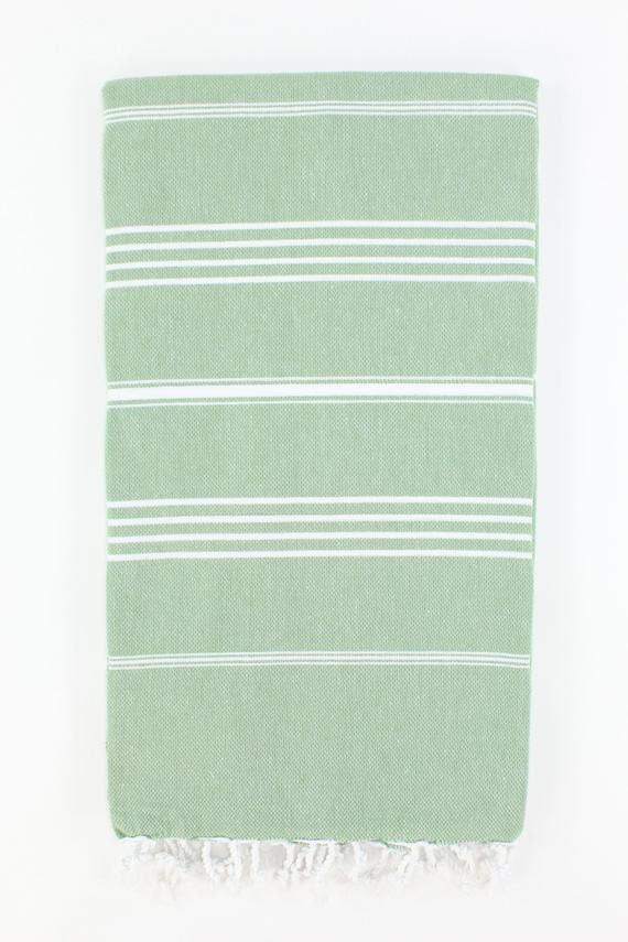 Turkish Towel Lightweight Thin Stripe Green