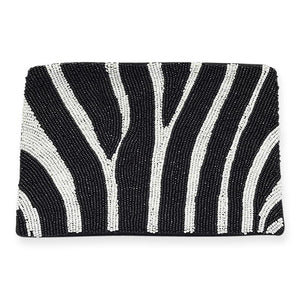 Ink & Alloy Zebra Seed Bead Clutch