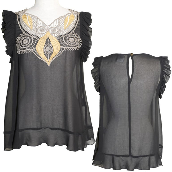 Natasha Gan of Sydney black chiffon ruffle and lace top, size 12