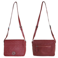 Gardenia ruby-red embroidered leather handbag