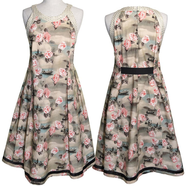 Nicola Waite of Sydney boating and tea rose print cut day dress, size 16