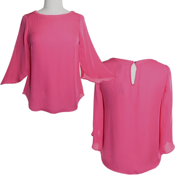 White House Black Market of USA hot pink blossom bud sleeve silk top, size 6