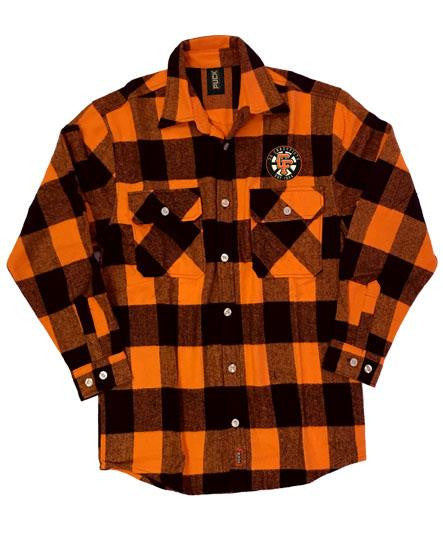 36 CRAZYFISTS '36 CRAZY SPOKES' hockey flannel in orange plaid