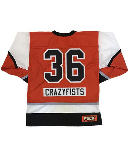 36 CRAZYFISTS '36 CRAZY SPOKES' hockey jersey in orange back view