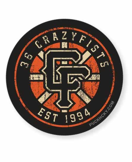 36 Crazyfists sticker styled after the Boston Bruins retro logo