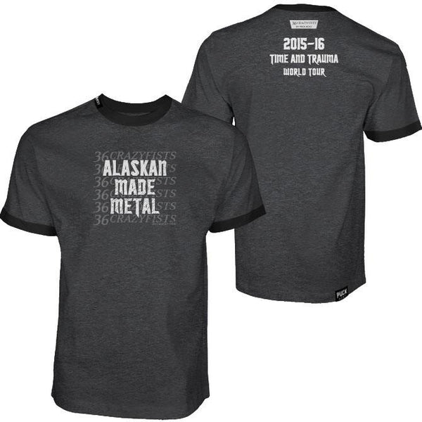 36 CRAZYFISTS 'ALASKAN MADE METAL' short sleeve hockey t-shirt front and back view