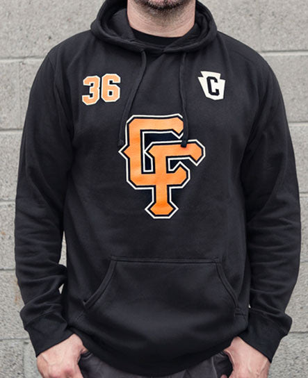 Brock Lindow wearing a 36 CRAZYFISTS 'BROCK STREET BULLY' pullover hockey hoodie