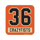 36 CRAZYFISTS 'BROCK STREET BULLY' hockey sticker in orange