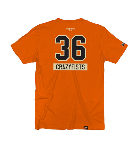 36 CRAZYFISTS 'BROCK STREET BULLY' short sleeve hockey t-shirt in orange back view