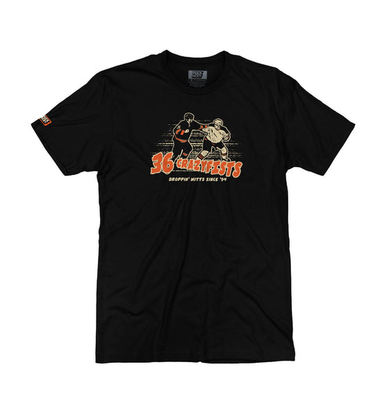 36 CRAZYFISTS 'FISTS OF FURY' short sleeve hockey t-shirt in black front view
