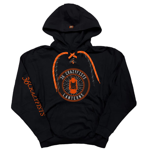 36 CRAZYFISTS 'LANTERNS' pullover hockey hoodie in black with black laces and orange laces with white stripes