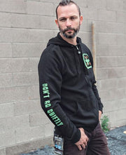 Steve Holt wearing a 36 CRAZYFISTS 'TIME AND TRAUMA' full zip hockey hoodie