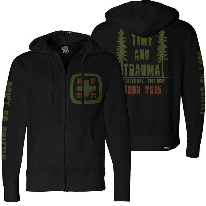 36 CRAZYFISTS 'TIME AND TRAUMA' full zip hockey hoodie in black front and back view
