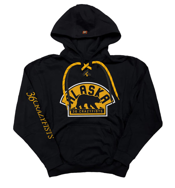 36 CRAZYFISTS 'VINTAGE ALASKA' pullover hockey hoodie in black with black laces and gold laces with black stripes