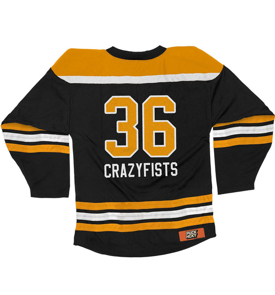 36 CRAZYFISTS 'VINTAGE ALASKA' hockey jersey in black, gold, and white back view