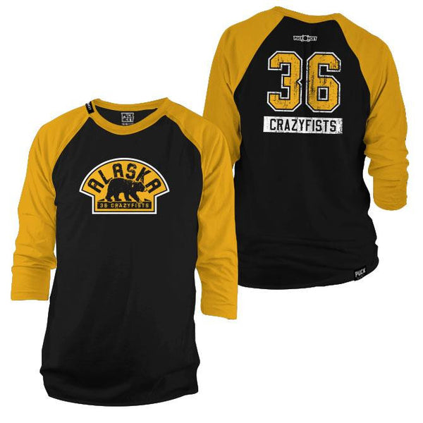 36 CRAZYFISTS 'VINTAGE ALASKA' hockey raglan t-shirt in black/gold front and back view