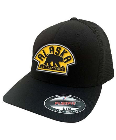 36 CRAZYFISTS 'VINTAGE ALASKA' STRETCH MESH HOCKEY CAP (black/gold)