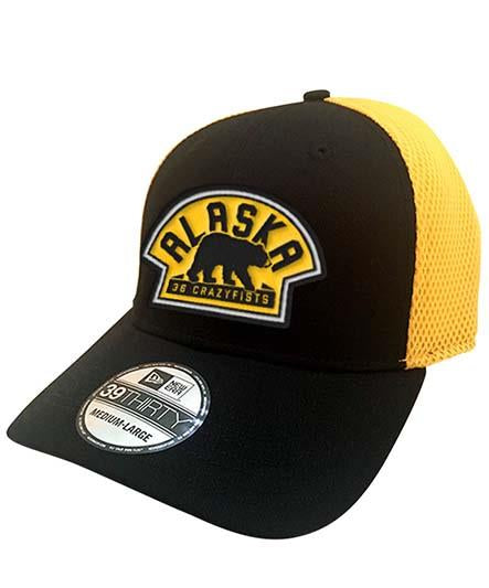 36 CRAZYFISTS 'VINTAGE ALASKA' stretch mesh hockey cap in black and gold