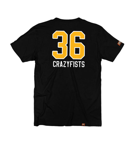 36 CRAZYFISTS 'VINTAGE ALASKA' short sleeve hockey t-shirt in black back view