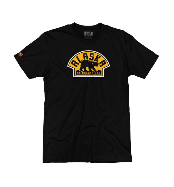 36 CRAZYFISTS 'VINTAGE ALASKA' short sleeve hockey t-shirt in black front view