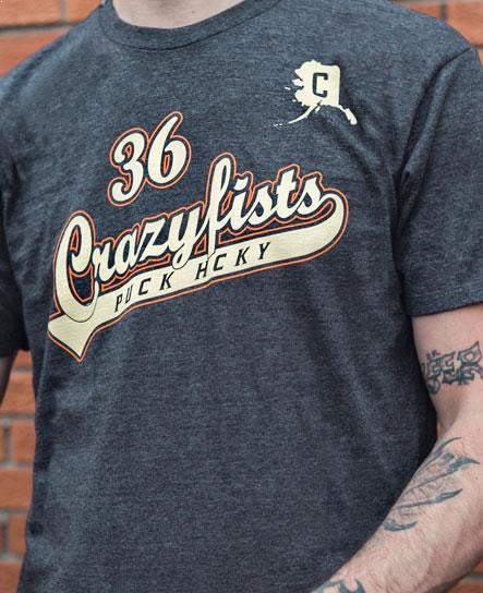 36 CRAZYFISTS 'VINTAGE SCRIPT' short sleeve hockey t-shirt in charcoal heather