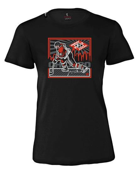 MARIAN HOSSA 'CHICAGO SKYLINE' women's short sleeve hockey t-shirt in black