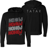 TOMAS TATAR 'HOKEJ' pullover hockey hoodie in black front and back view