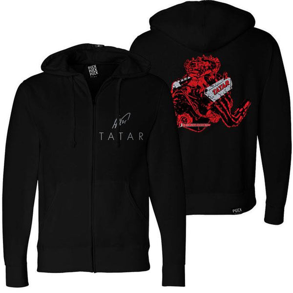 TOMAS TATAR 'HORSEPOWER' full zip hockey hoodie in black