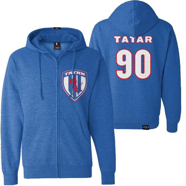 TOMAS TATAR 'SLOVAK SHIELD' full zip hockey hoodie front and back view