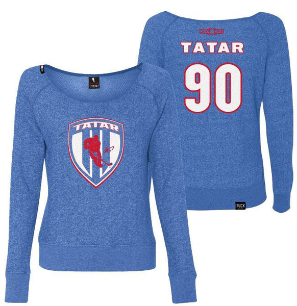 TOMAS TATAR 'SLOVAK SHIELD' women's off-shoulder hockey sweater front and back view