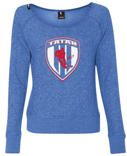 TOMAS TATAR 'SLOVAK SHIELD' women's off-shoulder hockey sweater front view