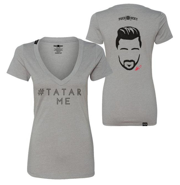TOMAS TATAR 'TATAR ME' women's short sleeve hockey v-neck t-shirt in light grey front and back view