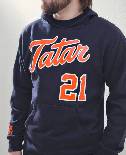TOMAS TATAR 'TATTER UP' pullover hockey hoodie on model