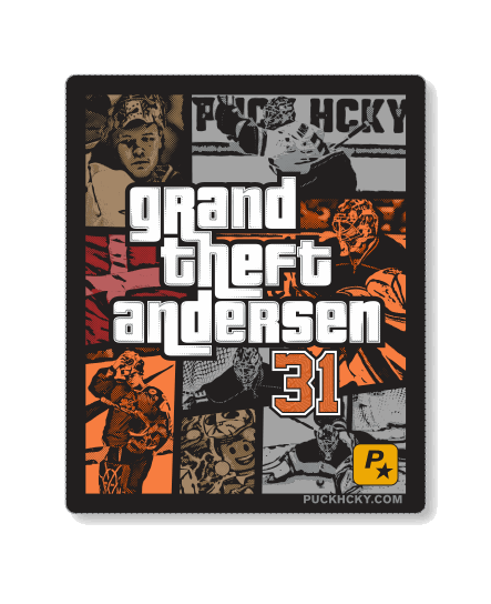FREDDIE ANDERSEN 'GRAND THEFT ANDERSEN' hockey sticker