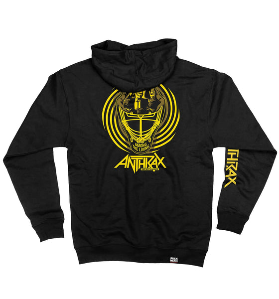 ANTHRAX 'AMONG THE LIVING MASK' full zip hockey hoodie in black back view