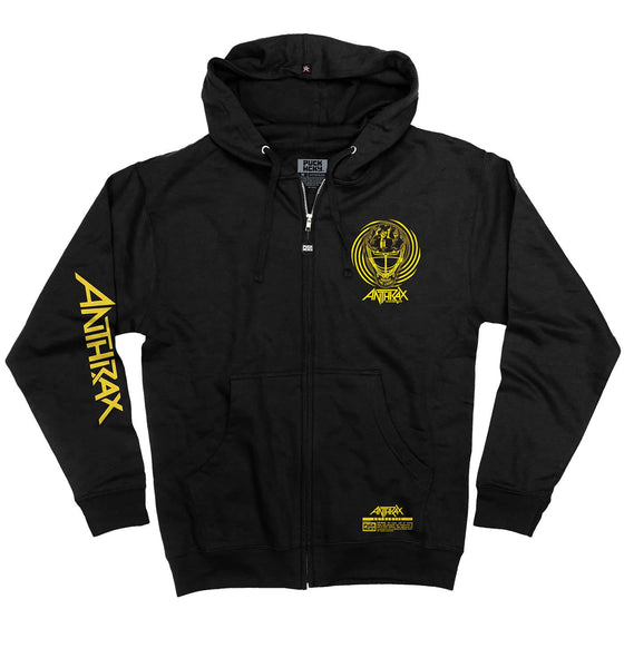 ANTHRAX 'AMONG THE LIVING MASK' full zip hockey hoodie in black front view