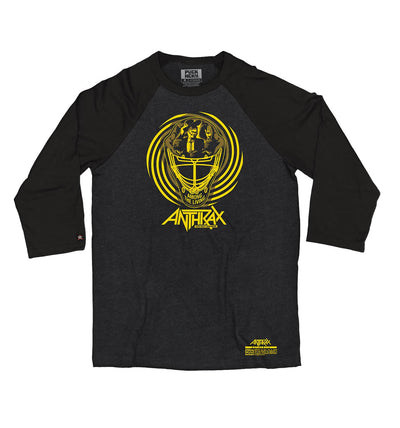 ANTHRAX 'AMONG THE LIVING MASK' hockey raglan in heather black with black sleeves