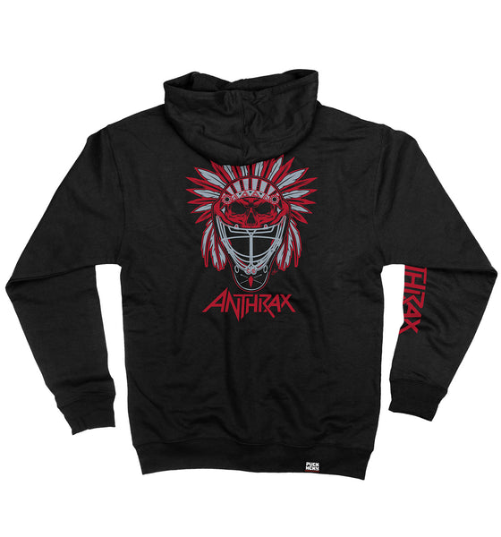 ANTHRAX 'BRAVE AND MIGHTY' full zip hockey hoodie in black back view