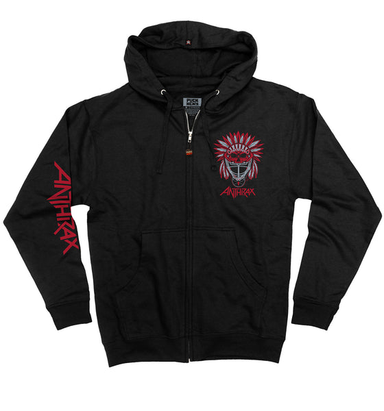 ANTHRAX 'BRAVE AND MIGHTY' full zip hockey hoodie in black front view