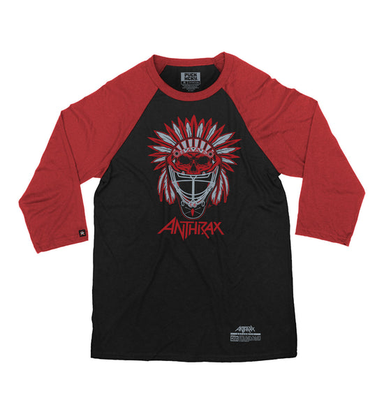 ANTHRAX 'BRAVE AND MIGHTY' hockey raglan in black with red sleeves