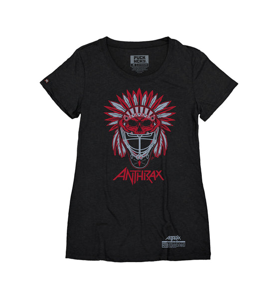 ANTHRAX 'BRAVE AND MIGHTY' women's short sleeve hockey t-shirt in black