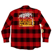 ANTHRAX 'DOUBLE LP' hockey flannel in red plaid back view