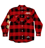 ANTHRAX 'DOUBLE LP' hockey flannel in red plaid front view