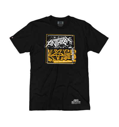 ANTHRAX 'DOUBLE LP' short sleeve hockey t-shirt in black