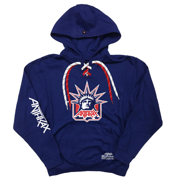 ANTHRAX 'LADY OF THRASH' laced pullover hockey hoodie in royal with red and white laces with black stripes