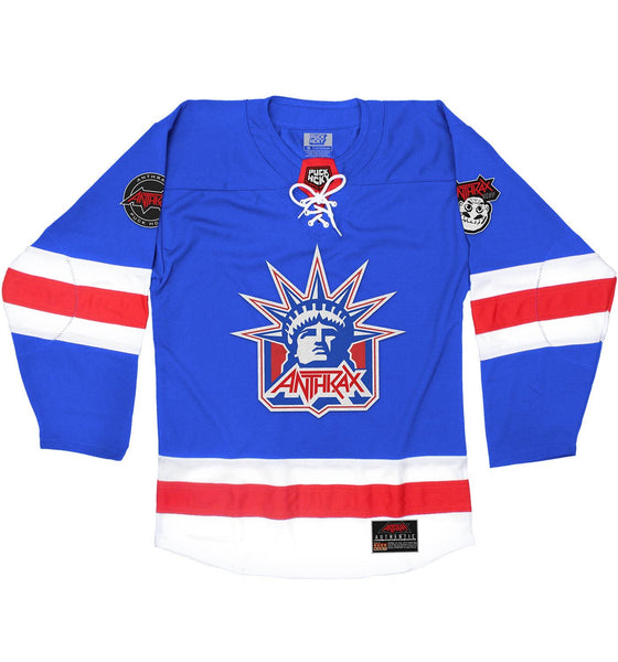 ANTHRAX 'LADY OF THRASH' hockey jersey in royal, white, and red front view