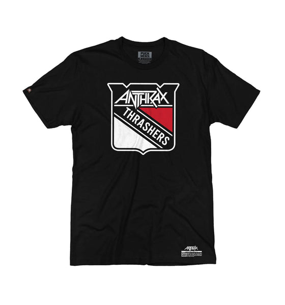 ANTHRAX 'METAL THRASHING MAD' short sleeve hockey t-shirt in black