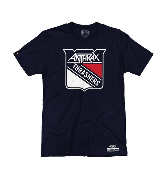 ANTHRAX 'METAL THRASHING MAD' short sleeve hockey t-shirt in navy